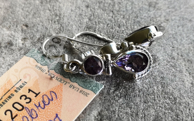 925 Sterling Silver AMETHYST Earrings #336