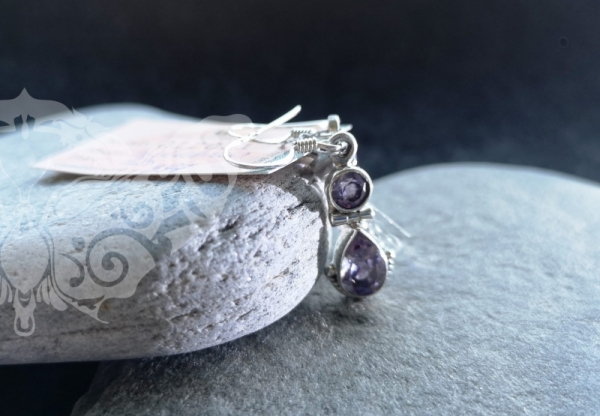 925 Sterling Silver AMETHYST Earrings #336