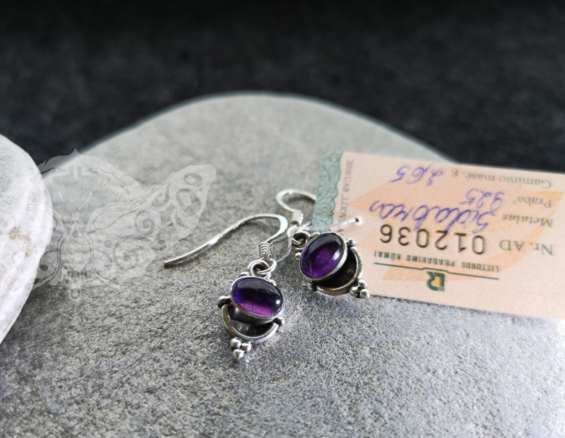 925 Sterling Silver AMETHYST Earrings #1050