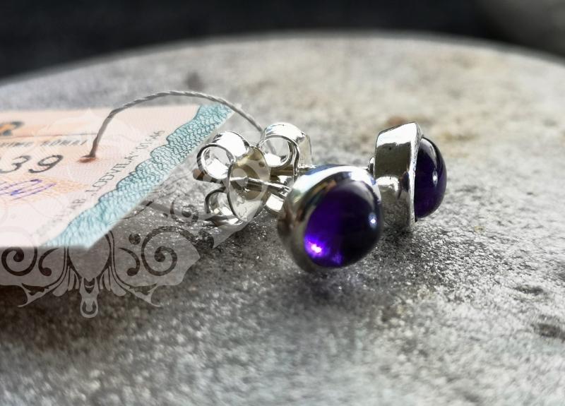 925 Sterling Silver AMETHYST Earrings #1414.220