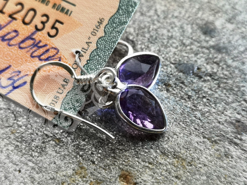925 Sterling Silver AMETHYST Earrings #2293