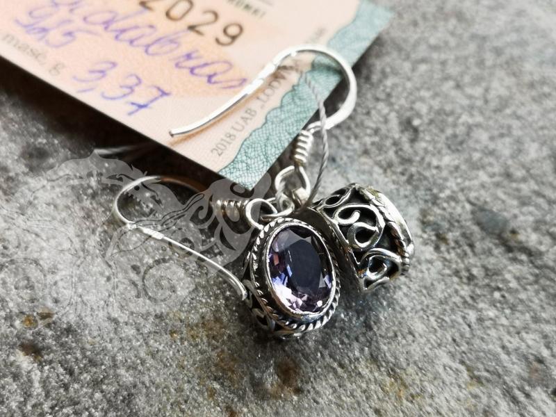 925 Sterling Silver AMETHYST Earrings #4258