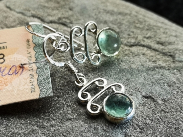 925 Sterling Silver APATITE Earrings #133