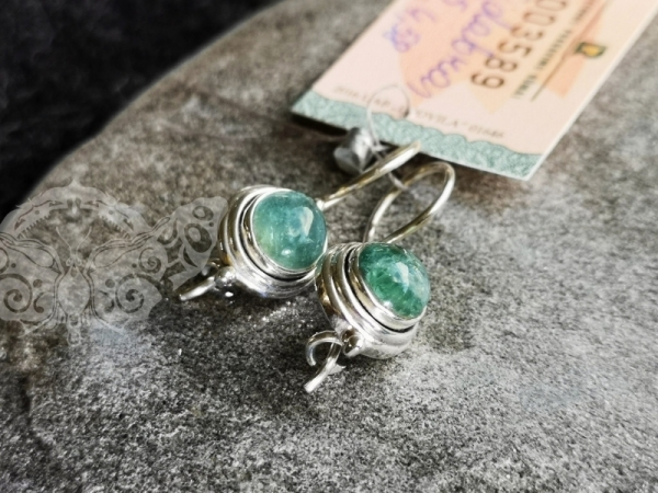 925 Sterling Silver APATITE Earrings #248.457