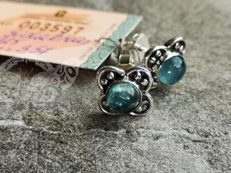 925 Sterling Silver APATITE Earrings #4204.357