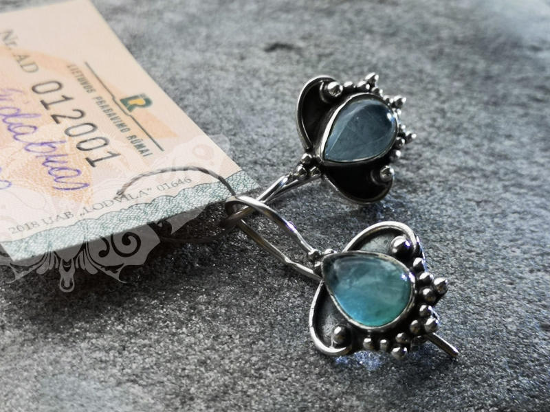 925 Sterling Silver APATITE Earrings #429.399