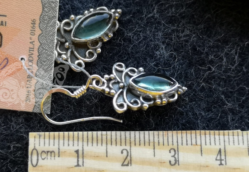 925 Sterling Silver APATITE Earrings #4383