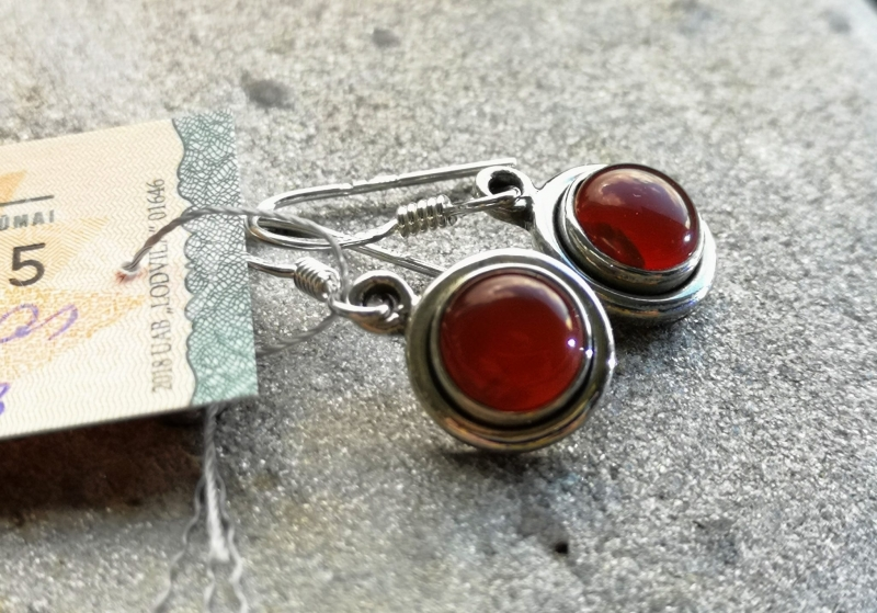 925 Sterling Silver CARNELIAN Earrings #1512
