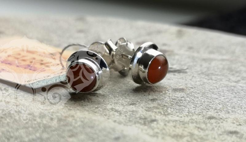 925 Sterling Silver CARNELIAN Earrings #2542
