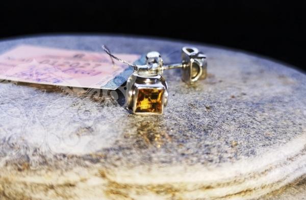 925 Sterling Silver CITRINE Earrings #780