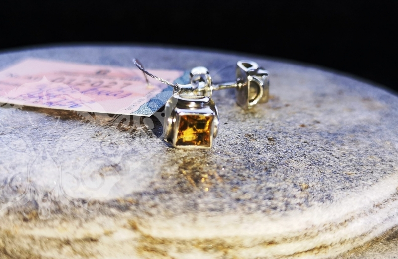925 Sterling Silver CITRINE Earrings #780