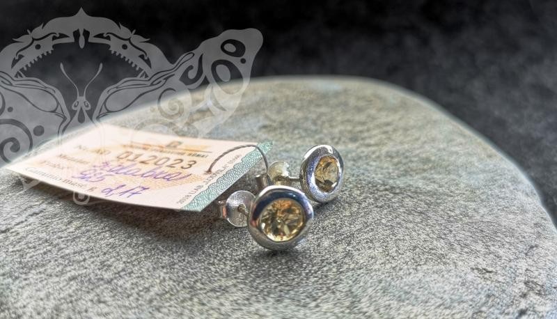 925 Sterling Silver CITRINE Earrings #2379