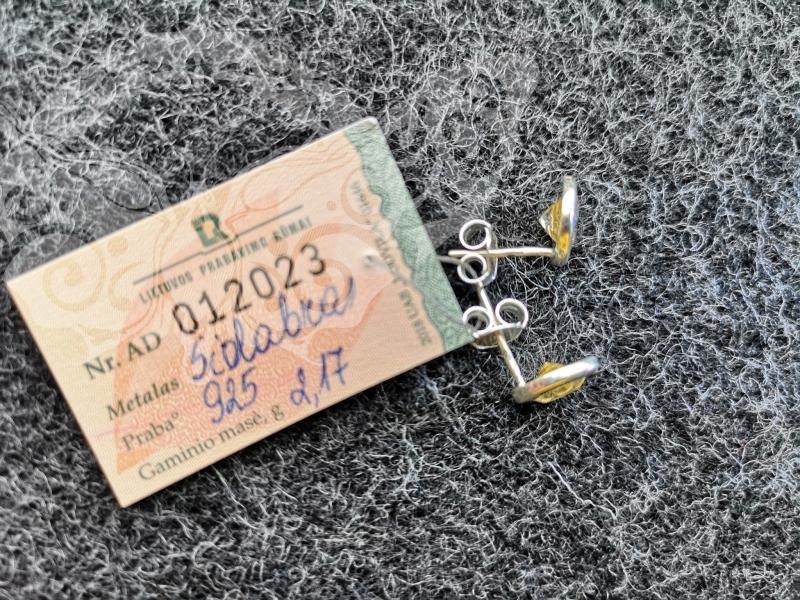 925 sidabro auskarai su CITRINU #2379