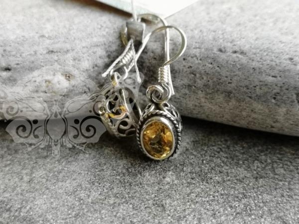 925 Sterling Silver CITRINE Earrings #4262