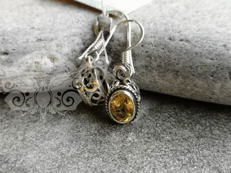 925 Sterling Silver CITRINE Earrings #4262