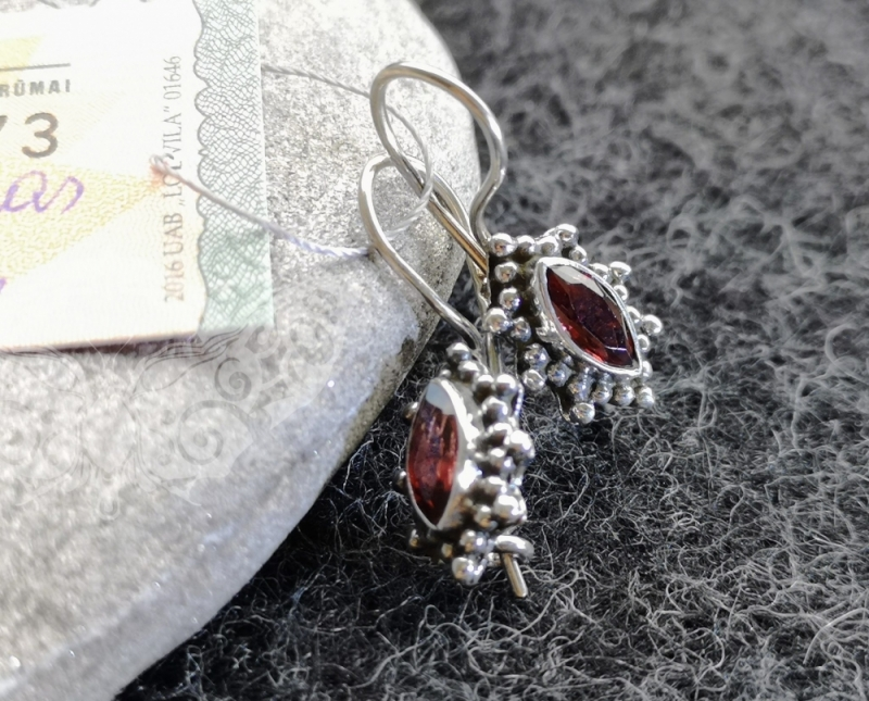 925 Sterling Silver GARNET Earrings #22