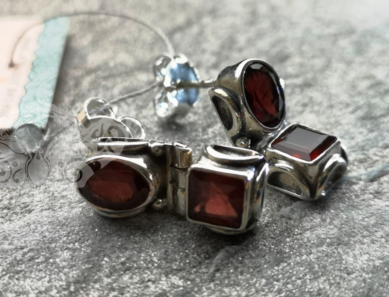 925 Sterling Silver GARNET Earrings #1237