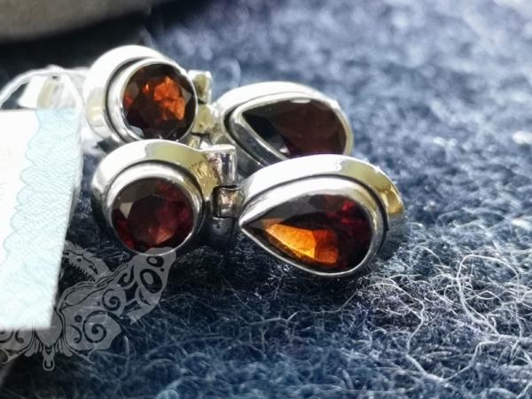 925 Sterling Silver GARNET Earrings #1240