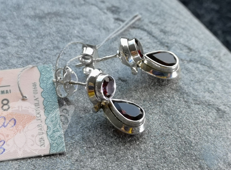 925 Sterling Silver GARNET Earrings #1240