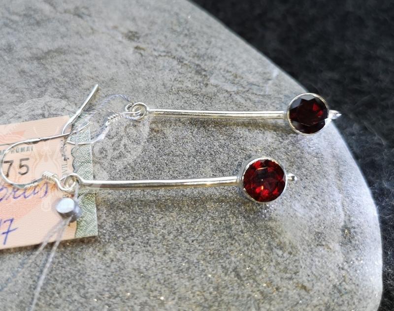 925 Sterling Silver GARNET Earrings #1696