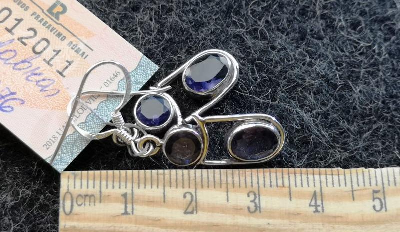 925 Sterling Silver IOLITE Earrings #417