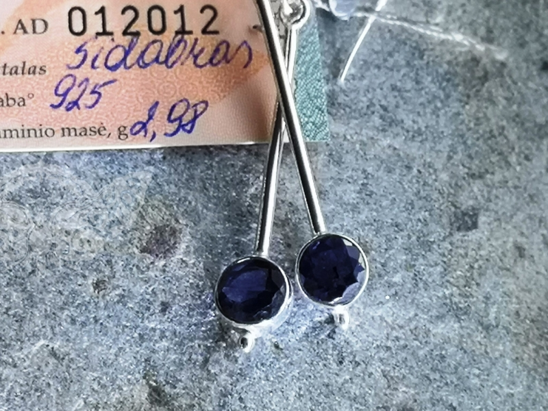 925 Sterling Silver IOLITE Earrings #1699