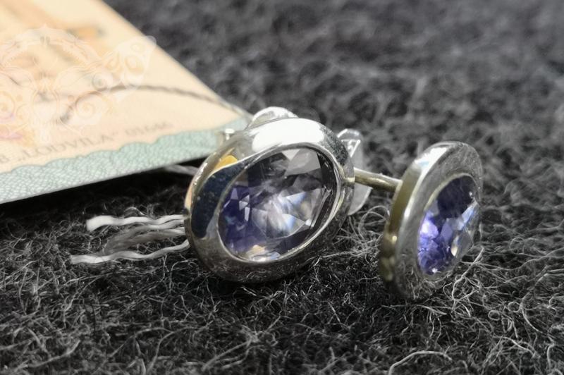 925 Sterling Silver IOLITE Earrings #2403