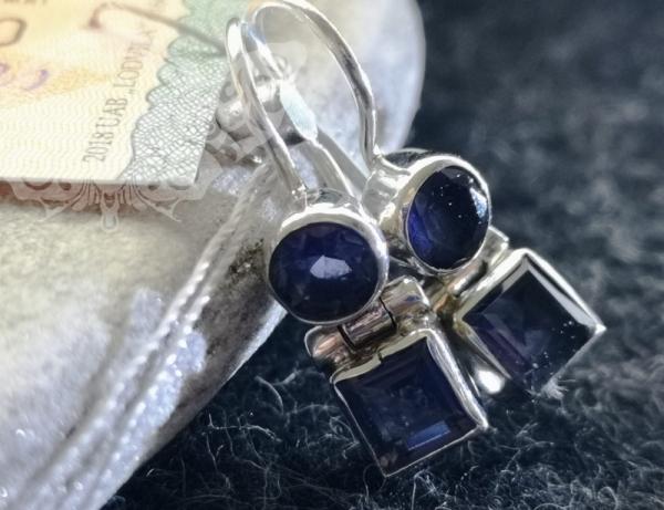 925 Sterling Silver IOLITE Earrings #2513