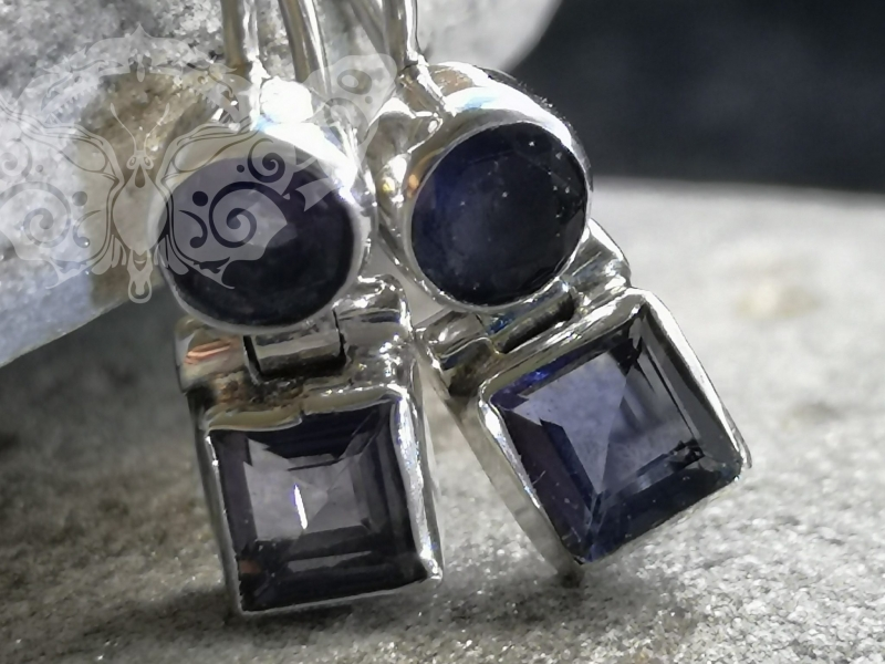 925 Sterling Silver IOLITE Earrings #2513