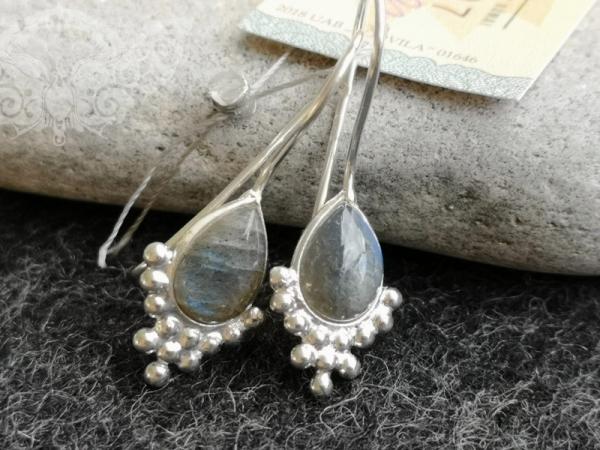 925 Sterling Silver LABRADORITE Earrings #1449