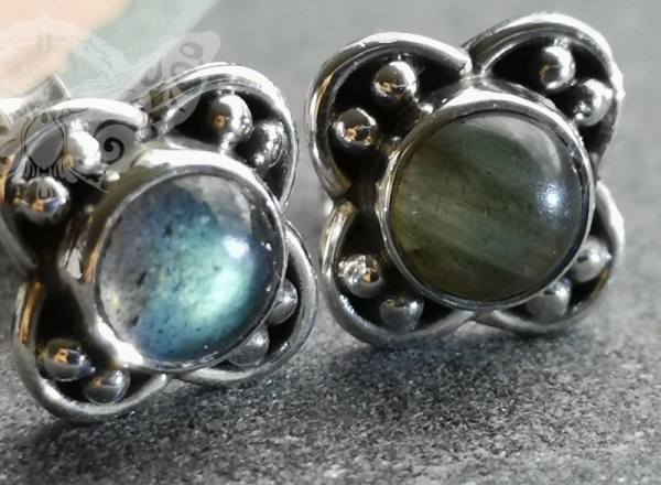 925 Sterling Silver LABRADORITE Earrings #4195