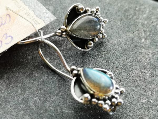 925 Sterling Silver LABRADORITE Earrings #4286