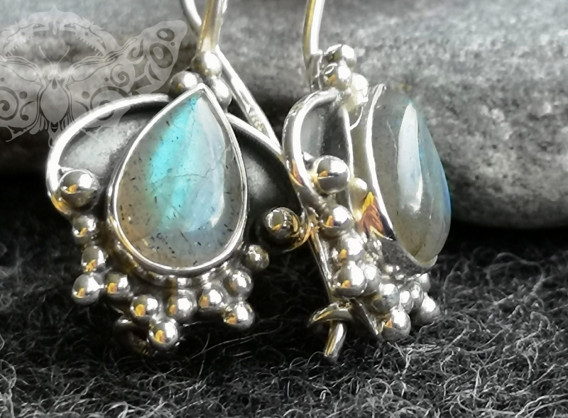 925 Sterling Silver LABRADORITE Earrings #4286