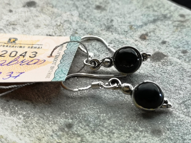 925 Sterling Silver BLACK ONYX Earrings #2649