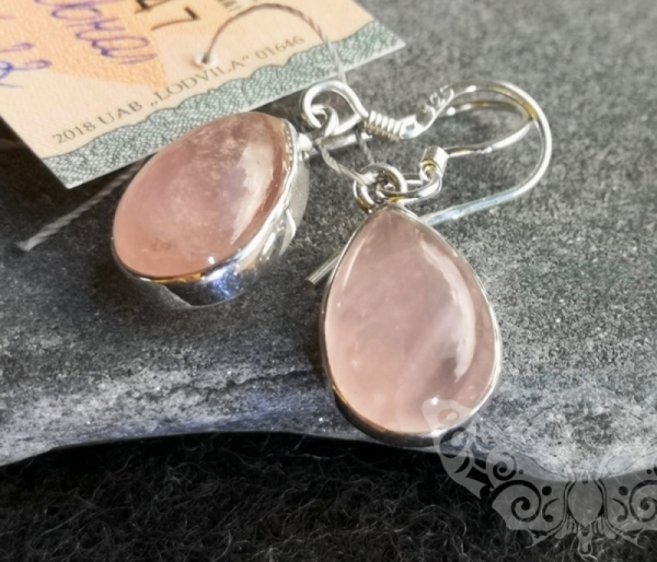 925 Sterling Silver ROSE QUARTZ Earrings #130