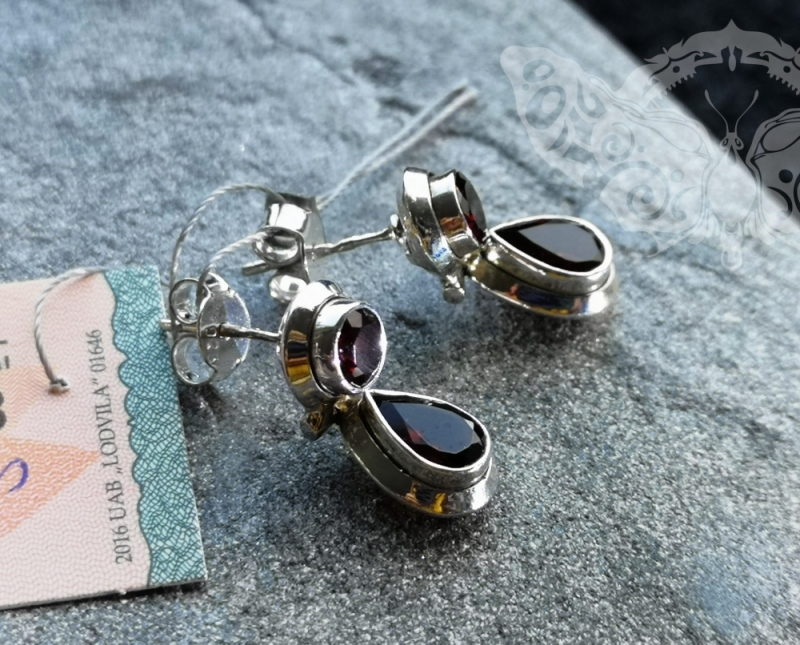 925 Sterling Silver SMOKY QUARTZ Earrings #1243