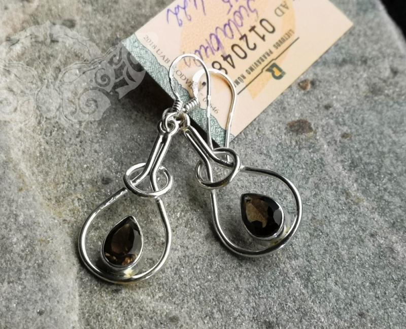 925 Sterling Silver SMOKY QUARTZ Earrings #1554