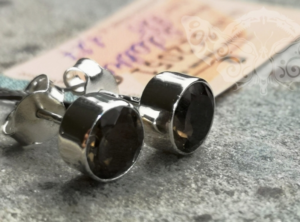 925 Sterling Silver SMOKY QUARTZ Earrings #2459