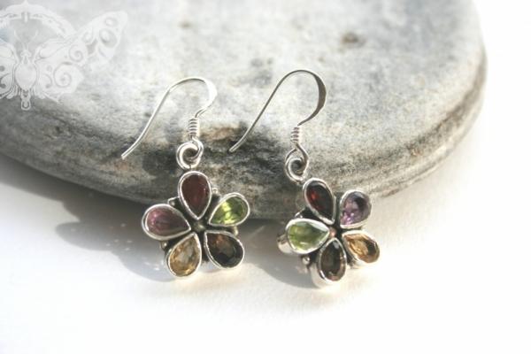 925 Sterling Silver MULTISTONE Earrings #266
