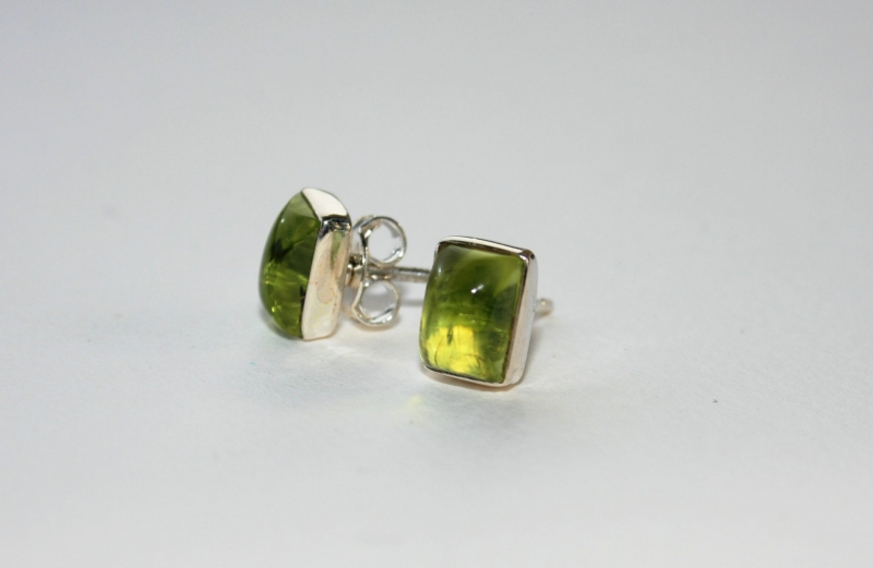 925 Sterling Silver PERIDOT Earrings #1735