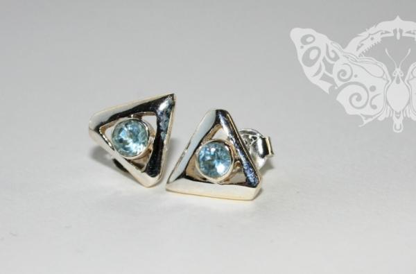 925 Sterling Silver BLUE TOPAZ Earrings #1211