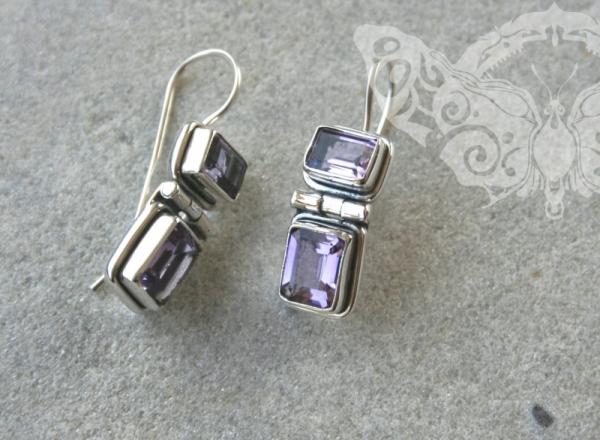 925 Sterling Silver AMETHYST Earrings #1156