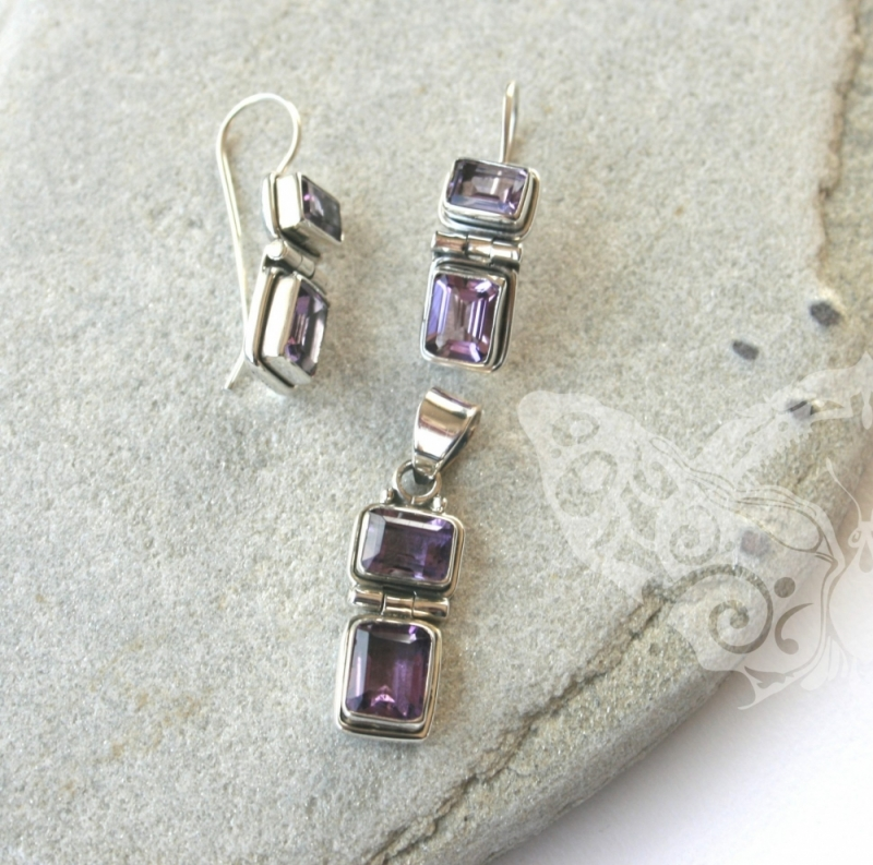 925 Sterling Silver AMETHYST Earrings #1156