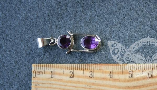 925 Sterling Silver AMETHYST Pendant #3398