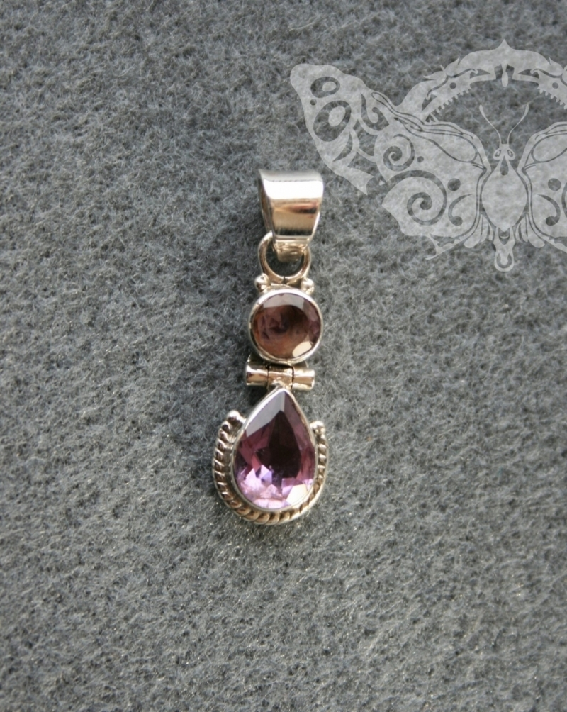 925 Sterling Silver AMETHYST Pendant #3435