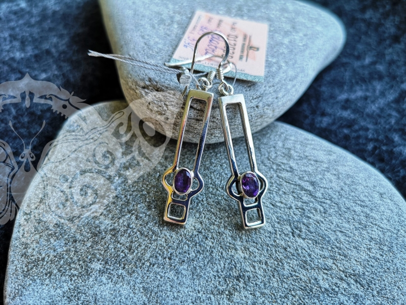 925 Sterling Silver AMETHYST Earrings #117