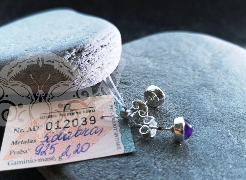 925 Sterling Silver AMETHYST Earrings #1414.202