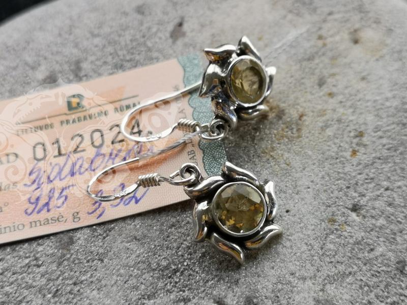 925 Sterling Silver CITRINE Earrings #2952