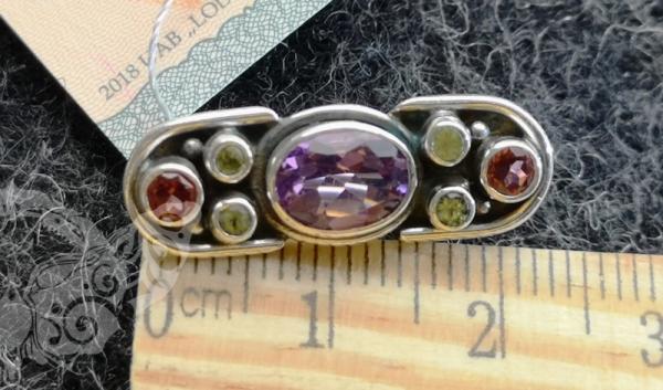 925 Sterling Silver MULTISTONE brooch #7521.353
