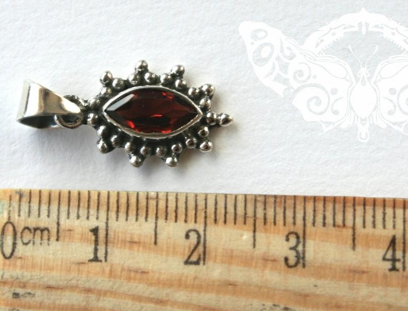 925 Sterling Silver GARNET Pendant #3001